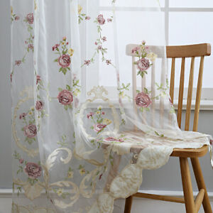 Sheer Curtains Flower Embroidered for Living Room Lace Drape Rod Pocket Decor