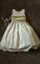 Winnie Couture flower girl wedding dress new size 6 lace iridecent gold green