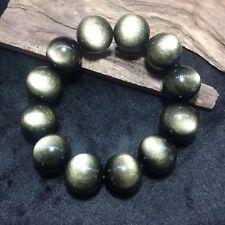 20MM Natural Gold Obsidian Black Jade Crystal Bead Beads Bracelet Bangle