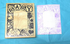 Vintage Fun Stamps Baby frame rubber stamp bunny rsattle duck balloons bear dots