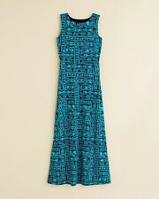 Aqua Girls' Print Maxi Dress, Navy/Green, Size L, MSRP $68