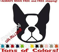 Boston Terrier Dog Face Vinyl Decal Sticker for Car Window, laptop, BOGO FREE!!
