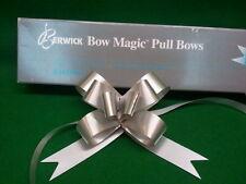 "SILVER  4"" BUTTERFLY BOW MAGIC PULL BOWS RIBBON BERWICK QTY 10 BOWS"