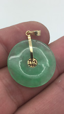 Beautiful green jade pendant 14k yellow gold outer diameter 25mm