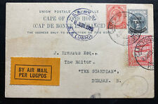 1925 Capetown South Africa First Flight Postcard Airmail Cover FFC To Durban