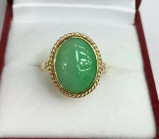 14k Solid Yellow Gold One Stone/Solitaire Ring Natural Jade, Sz 7. 3.32 Grams