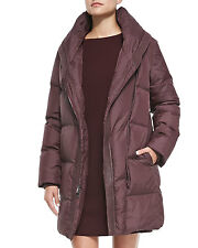 Vince Shawl Collar Leather Trim Down Puffer Coat-Wine  Size: XS $895 NWT