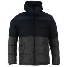 FABRIC Mens Blue Black & Grey Colour Block Padded Jacket Coat Small S BNWT