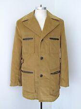 Vgc Vtg 60s 70s Towncraft Brown Corduroy Safari Stadium Pimp Coat Fur Lined 42L