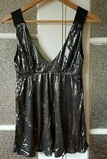 MNG silver babydoll glamour top - Sz S