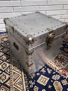 Vintage Aluminum Storage Trunk Cube Shaped Side Table Retro Boho Chic