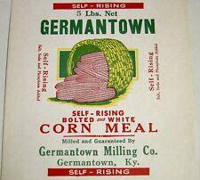 "Vintage 5 lb Corn Meal Paper Bag/Sack-Germantown Milling Co-Kentucky KY 8""x16"""