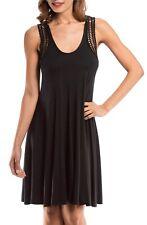 EUC Robin Piccone Laurel Crochet Racerback Coverup Dress, Black- Size L $148