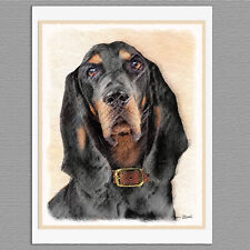 6 Black and Tan Coonhound Dog Blank Art Note Greeting Cards