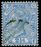 SG157, 2½d blue PLATE 22, FINE USED. Cat £40. CE