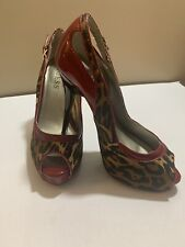 "WOMEN'S SHOES ""GUESS"" RED/ANIMAL PRINT HIGH HEELS PLATFORM OPEN/PEEP TOE SIZE 7M"