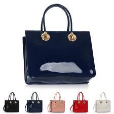 New Patent Grab Ladies Designer Womens Shoulder Bag Cross Body Handbag Totes UK