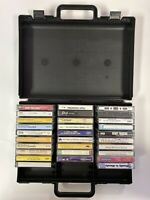 Vintage! Lot of Miscellaneous Cassette Tapes with Carrying Case