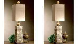 """PAIR ANDEAN XXL 33"""" SIMULATED LAYERED STONE ACCENT BUFFET TABLE LAMP UTTERMOST"""