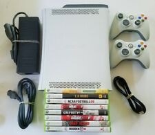 Microsoft Xbox 360 White 60GB HDD Gaming Console w/ 8 game bundle & 2 Controller