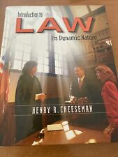 Introduction to Law: Its Dynamic Nature   by Henry R. Cheeseman   Hardcover ECU