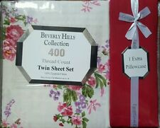 NIB PINK ROSE FLOWERS BURGUNDY TWIN BED SHEET 4 PC FLORAL SET EGYPTIAN COTTON