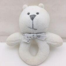 "White Teddy Bear Rattle Teether Ring Gray Eyes Nose Bow Baby Gap Plush 5.5"""