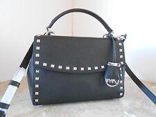 New MICHAEL KORS Ava Stud SMALL Top Handle Leather Satchel $298 BLACK SILVER