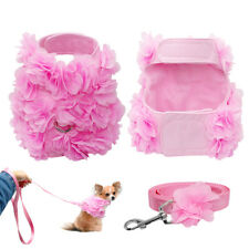 Pink Vogue Flower Studded Dog Harness and Leash set Cute for Small Dog Puppy Cat