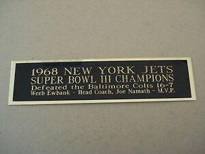 "New York Jets Football Card Super Bowl III Display Case Nameplate 1.5"" X 8"""