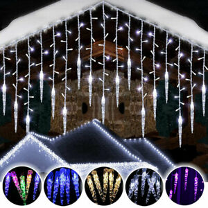 LED Christmas Curtain Fairy Lights Falling Icicle Rain Xmas Tree Outdoor Party