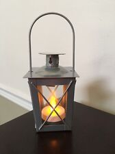"""Small Gray Metal And Glass Tea Light Lantern With Tea Light  4.5"""" X 3"""""""