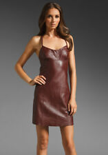 T BY ALEXANDER WANG Spaghetti Träger Leder Mini Kleid in Merlot S