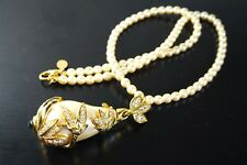 JOAN RIVERS CAGED PEARL GOLD TONE RHINESTONE PENDANT PEARL IMITATION  NECKLACE