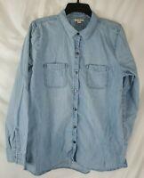 J Jill Denim Women's Large Button Up Shirt Blue Long Sleeve Cotton