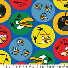 Angry Birds Bird Circles on Blue Kids Fleece Fabric Print by the Yard A325.08