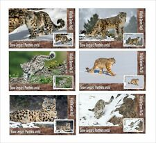 SNOW LEOPARD WILD CATS CAT 6 SOUVENIR SHEETS MNH UNPERFORATED ANIMALS FAUNA