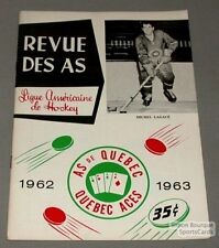 1962-63 AHL Quebec Aces  Program Michel Lagace Cover