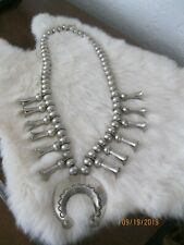 Vintage Navajo All Sterling Silver Large Squash Blossom Necklace 1968-70 Heavy