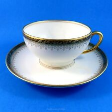 Gold Key Pattern Edge Limoges Tea Cup and Saucer Set