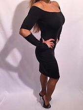 Black Long Sleeved OFF The Shoulder Cocktail Dress with cut out elbows  L