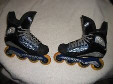 MISSION RL ROLLER HOCKEY BLADES SKATES ADULT SIZE 8 GREAT SHAPE VIOLATOR CHASSIS