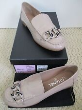 NIB Auth Chanel Beige Patent Leather Chain Link Logo Loafers Flats 37.5 7.5 $875