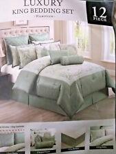 Hampton king comforter set green luxury 4 sham 2 eur 4 accent pillow skirt $500