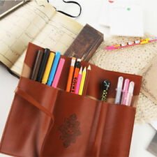 Pen Pencil Pouch Stationery Case PU Leather Cosmetic Make-up Brush Roll Bag Gift