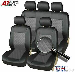 Front & Rear Vw Golf Passat Polo Bora Car Seat Covers Leather Look Full Set Grey