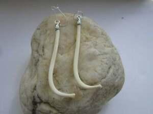Raccoon Penis Bone Earrings Dangle Love Bone 925 Silver  Boho Jewelry Baculum