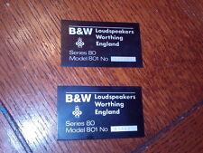 Bowers & Wilkins B&W 801 Series 80 Vintage Speaker Monitors Name Plate emblem