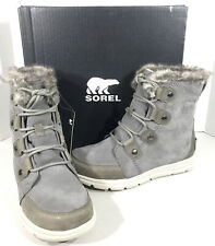 Sorel Explorer Joan Women's Size 8 Grey Leather Lace Up Winter Boots X2-208