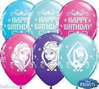 "NEW Elsa Anna Olaf 5 x Disney Frozen Happy Birthday 11"" Qualatex Latex Balloons"